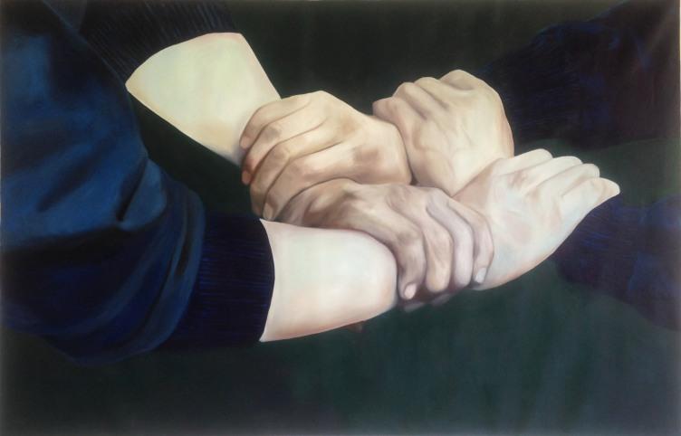 mains dans la main huile sur toile 150x230 cm 2015